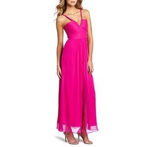 BCBG MaxAzria Hot Pink Hall Maxi Evening Gown